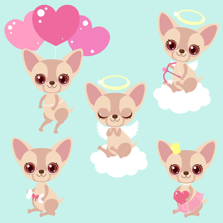 Set of cute chihuahua dogs for congratulations for a birthday or Valentine's Day. Romantic stickers. Children's characters. Kawaii puppies.