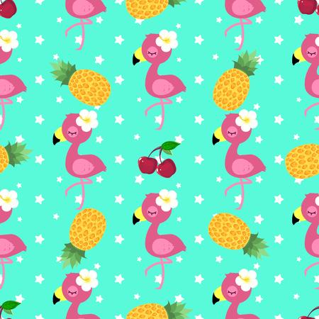 Motif tropical avec flamant rose, ananas et cerise Vecteurs
