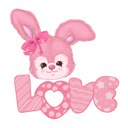 Cute pink fluffy bunny word love. Children's character. Valentine's day bunny.