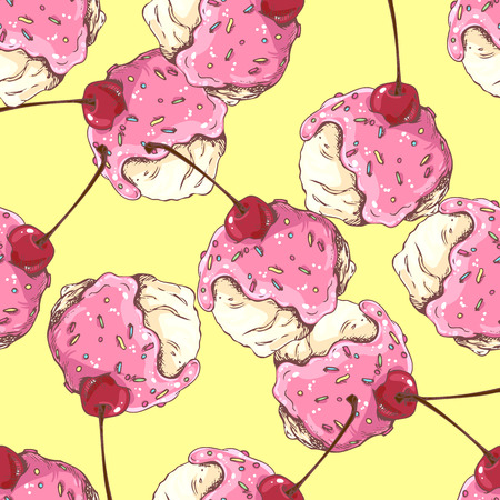 Pattern of ice cream ball in sweet syrup with cherry in doodle style for menu design