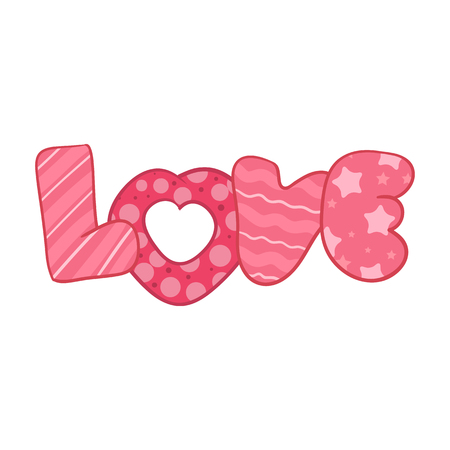 Pink word LOVE in patchwork technique