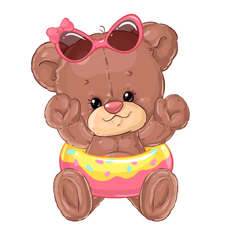 Girl teddy bear on the beach swims in the inflatable circle. Summer rest. Holidays with children. Illustration