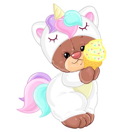 Teddy bear in unicorn costume with ice cream. Cute children's character.