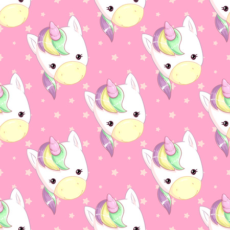 Pattern with a cute rainbow unicorn on a pink background with stars