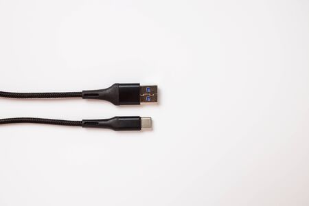 USB Type C and USB 3.0 closeup on white background, macro. Banco de Imagens