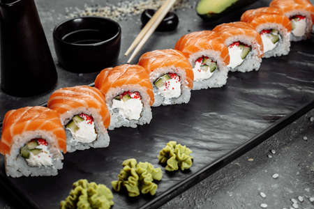 Sushi Philadelphia on a stone decorative plate Banque d'images