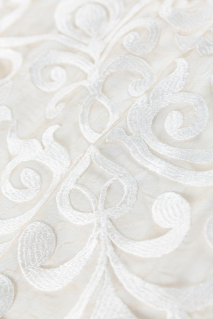 Close-up of white embroidery cloth