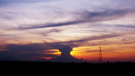 Sunset and cumulonimbus 免版税图像