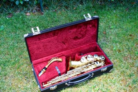 pentagramma musicale: sassofono Archivio Fotografico