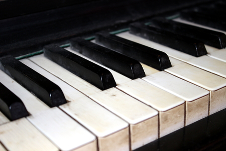 octave: old piano Stock Photo