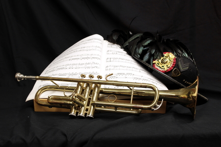 trumpet on the black background