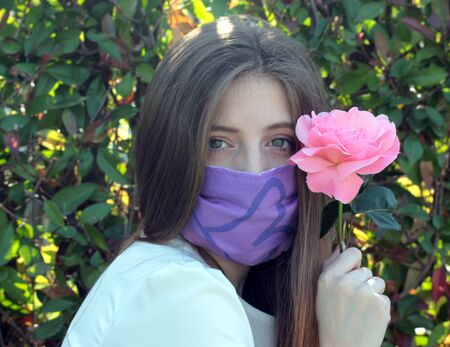 beautiful girl with protection mask
