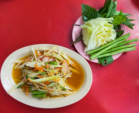 Thailand Green Papaya Salad, spicy hot chill Stock Photo