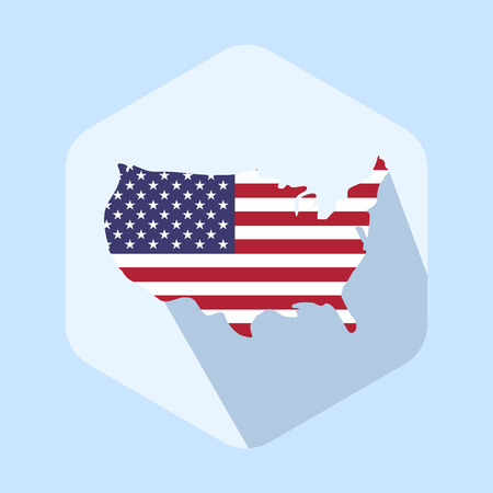 Usa flag map icon template. Flat design vector