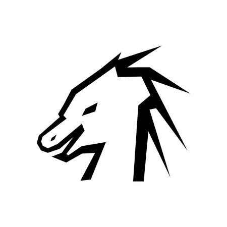 Head of dragon silhouette vector Çizim