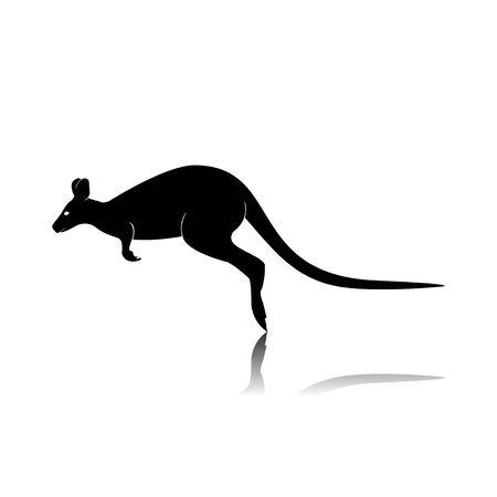 Kangaroo Silhouette Isolated on White Background