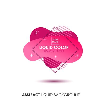 Abstract Liquid Pink Color Banner with line Frame and Brand Placing Logo Illustration