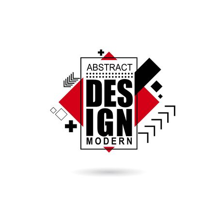 vector illustration creative modern frames. stylish graphics with elements of typography red abstract shape. element for design business cards, invitations, gift cards, flyers and brochures Illustration