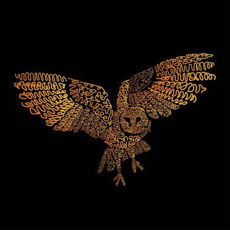 Hand drawn owl bird. It can be used for print design. Digital art of owl bird Illustration
