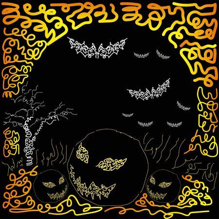 Illustration for Halloween with pumpkins, tree and and bats. Hand drawing art Vektoros illusztráció