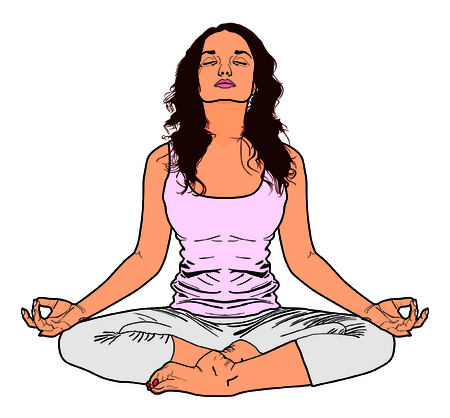Vector Yoga Young Women - Practice exercise relaxing human body nature - Fitness class pose - Meditation and clearing mind from life pressure - Freedom concept - Attractive girl practicing Illustration
