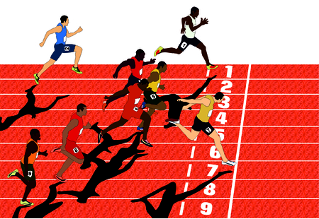 prowess: Vector Olympics Competition Athletes Run Race with tracks and numbers and end line winner just crossing it by his foot sportman body position while competing in this sport game who will get gold silver bronze medal