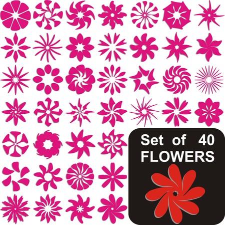 VECTOR -  Set of 40 Flowers