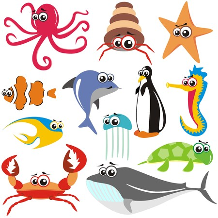 VECTOR - Animal Fish Set: crab, octopus, fish, shark, turtle, jellyfish, whale, sea horse, star Vetores