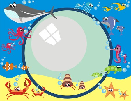 Vector - Frame Design with Under Water Animals & Breathing Bubbles - Octopus, Tropical Fish, Dolphin, Turtle, Jellyfish, Whale, Sea Horse, Star
