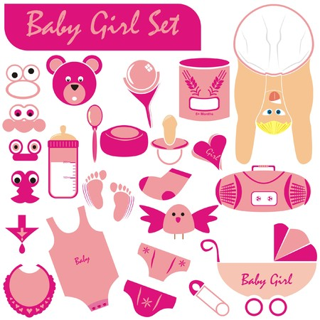 VECTOR - Baby Girl Set - Great Collection including (Baby Body & Face in nice position wearing diaper, stroller, pacifier, rattle, infant underwear, pin, milk bottle, food of grain wheat, teddy, bird)