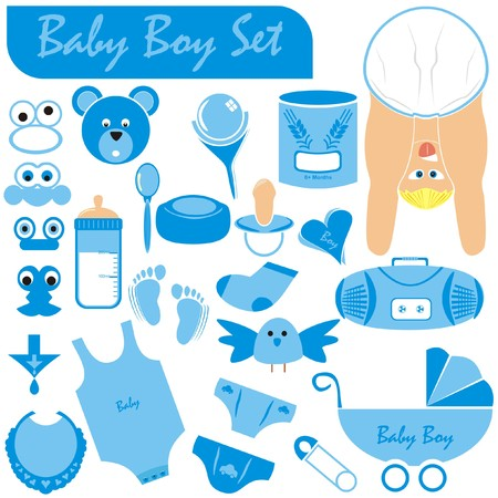 poppet: VECTOR - Baby Boy Set - Great Collection including (Baby Body & Face in nice position wearing diaper, stroller, pacifier, rattle, infant underwear, pin, milk bottle, food of grain wheat, teddy, bird)