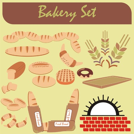 VECTOR - Set of Healthy Bakery Icons - (Furnace, Fresh Bread, chocolate donut, crowson, wheat ear) some of them where arranged and cut, slice of toast) Illustration