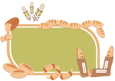 loaf: Vector - Background with Bakery Items - Multi-use can be used as menu, background - It include different types of fresh golden bread, Crowson and wheat ear Illustration