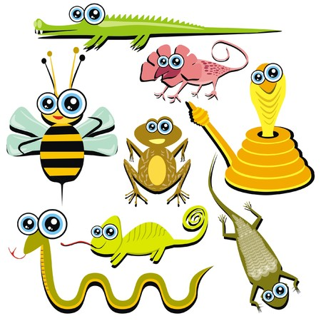 VECTOR - Family of Funny Cartoon Reptile Animals - ( Snake, Chameleon, Cobra, Bee, Crocodile, Frog, Lizard, Gecko)