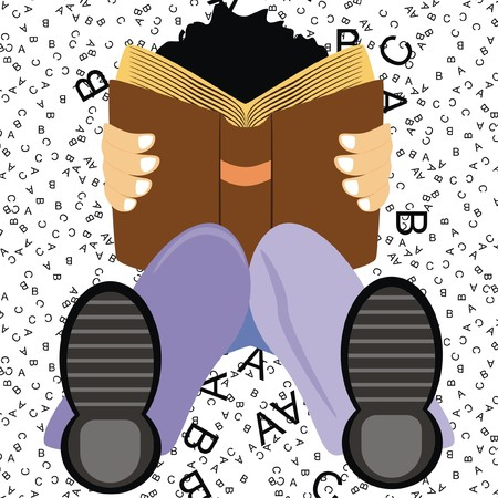 flexed: Vector a Student Setting on the Ground Studying English Language Book to get Distinction High Marks on ABC Background His Knee is Flexed He is wearing Shoe Good Boy Cartoon Character