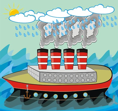 VECTOR Steamship Traveling in Stormy Weather in the Ocean with Rough Sea Polluted Smoke is Coming Out from Ship Chimney