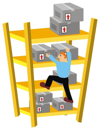 labor market: Vector Storekeeper Climbing Warehouse Shelves to move some packed Goods Boxes in Wrong Way  Cartoon Comic Character The man has Limited Experience doing his Job Cardboard are not Arranged