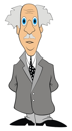 Vector Scientist Cartoon Character Old Man wearing Coat Illustration