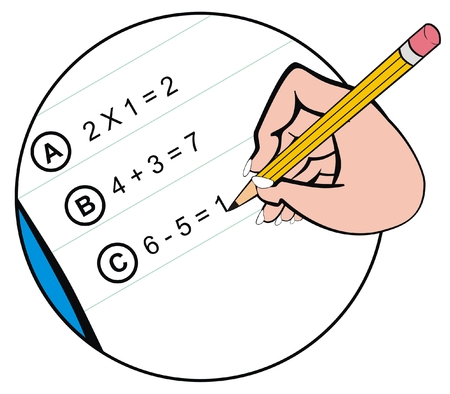 educational material: VECTOR - Close-up of Hand holding Pencil and Writing the Math Homework on notepaper - Useful for Back to School Event and for Educational Purposes