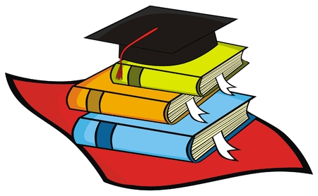 collegiate: VECTOR - Mortar Board Along with Some Books Belong to  Graduated Student ( Alumni )