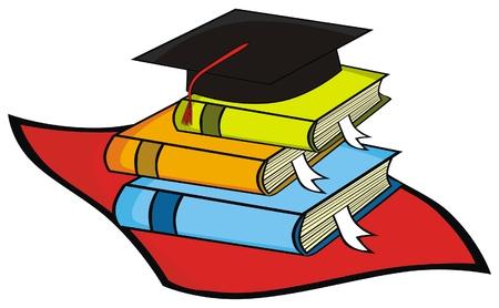 VECTOR - Mortelbord samen met sommige boeken behoren tot de afgestudeerde student (alumni) Vector Illustratie