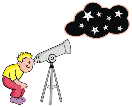VECTOR - Child Looking at The Stars by telescope