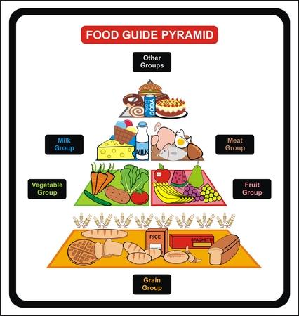 VECTOR - Pirámide Alimentaria - Incluyendo Grupos (Granos, Frutas, Vegetales, Leche, Carnes, Otros) - Útil para la Escuela, Material Educativo, Clínicas y Dieta