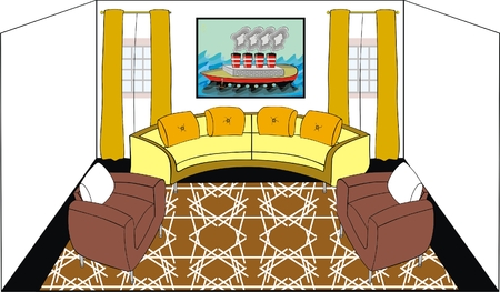 VECTOR - Living Room - Modern Design with Titanic Ship on The Wall