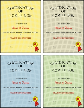 alumni: VECTOR - Certification of Completion template - Set of Four Different Colors - with Seal - Simple and Professional Illustration