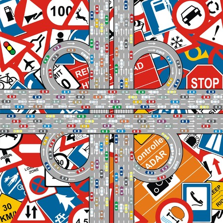 highway signs: Vector - Traffic Jam on Highway at Traffic Signs Background Illustration