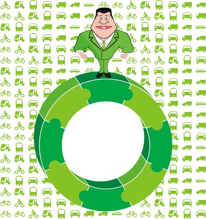 viewfinderchallenge3: Vector - Man Standing on Green Puzzle Circle and Vehicles Background - Green Environment Concept Illustration