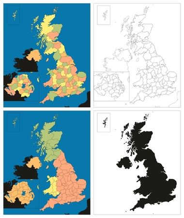 Vector Kingdom of Great Britain Island UK Maps Collection political silhouette with all provinces of United Kingdom including Scotland England Wales and Northern Ireland line art sketch