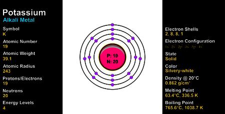 Kalium Atom Vektorgrafik