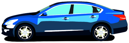 Sedan Car most popular family saloon vehicle isolated background attractive blue color Japanese design fast drive safe trip long distance vacation holiday destination transportation object logo